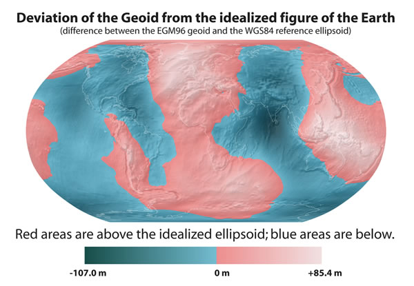 Deviation of the Geoid from the idealized figure of the Earth