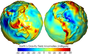 Gravity anomaly map from the NASA's GRACE (Gravity Recovery And Climate Experiment)