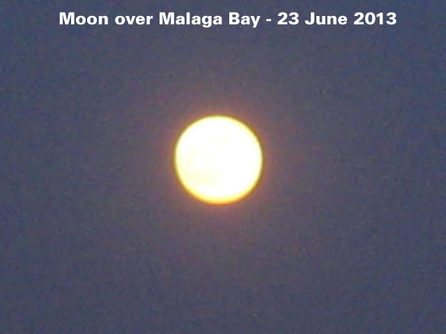 Moon over Malaga Bay - 23 June 2013