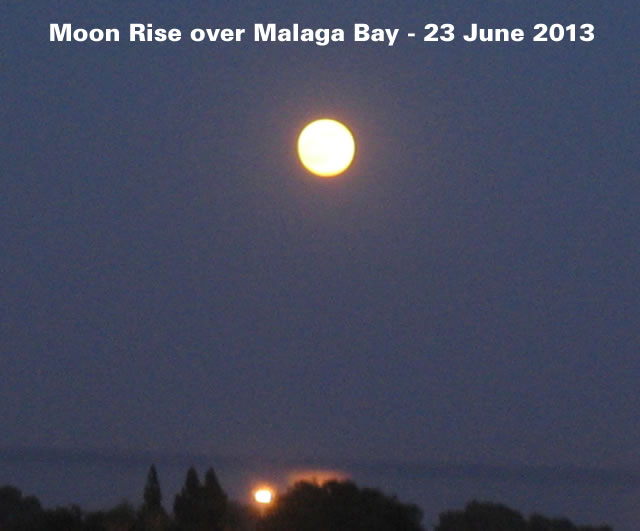 Moon Rise over Malaga Bay - 23 June 2013