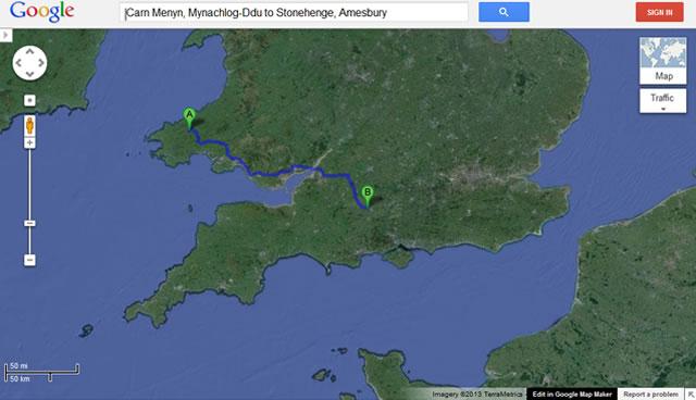 Google - Carn Menyn, Mynachlog-Ddu to Stonehenge, Amesbury