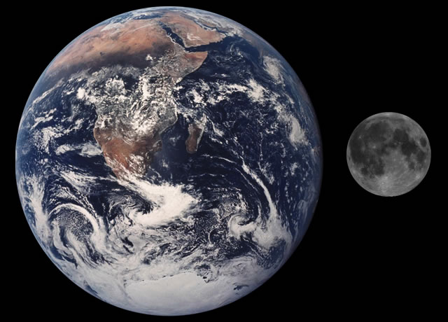 Moon Earth Comparison