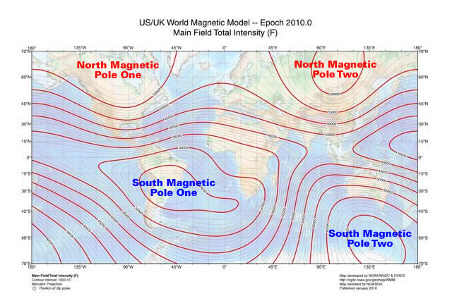 The Earth's magnetic field at the surface from the World Magnetic Model for 2010