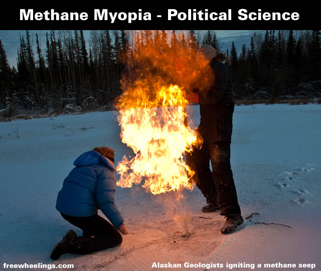 Alaskan Geologists igniting a methane seep