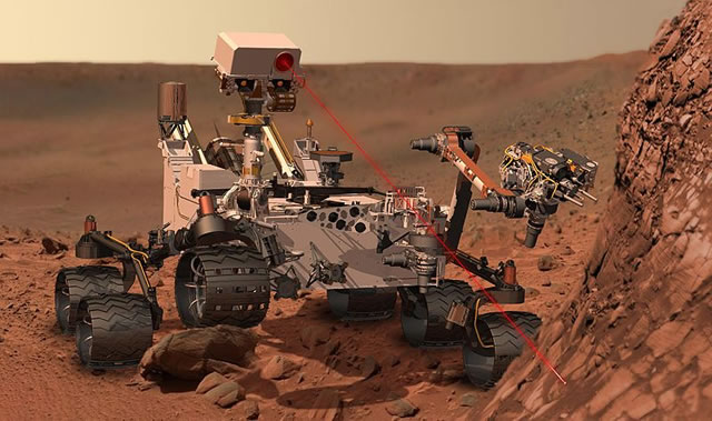 The Curiosity rover vaporizing rock on Mars