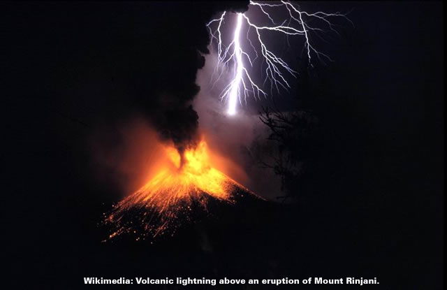 Volcanic lightning above an eruption of Mount Rinjani.