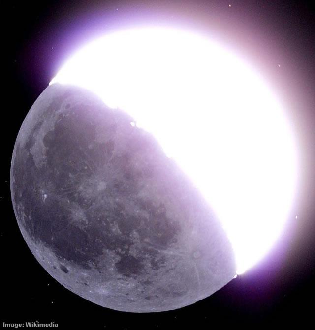 Earthshine reflecting off the Moon
