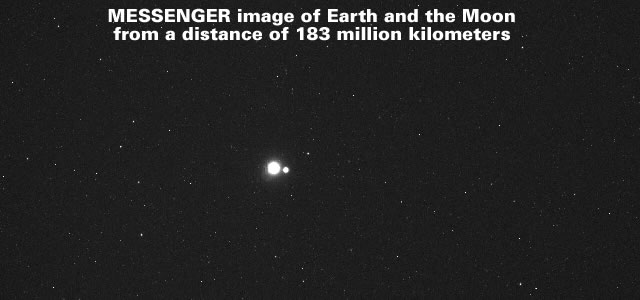 MESSENGER image of Earth and the Moon