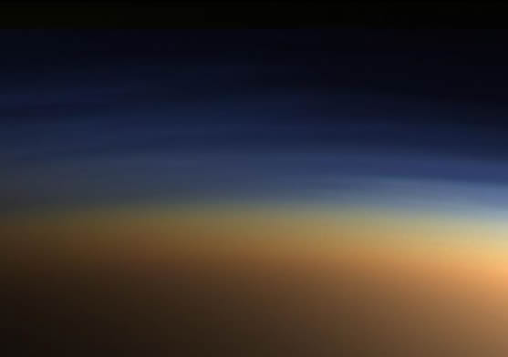 True-color image of layers of haze in Titan's atmosphere
