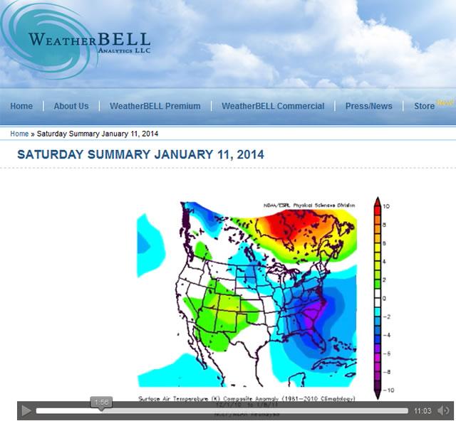 Joe Bastardi - Saturday Summary – 11 January 2014