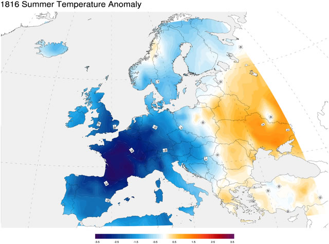 1816 summer temperature anomaly compared to average temperatures from 1971–2000