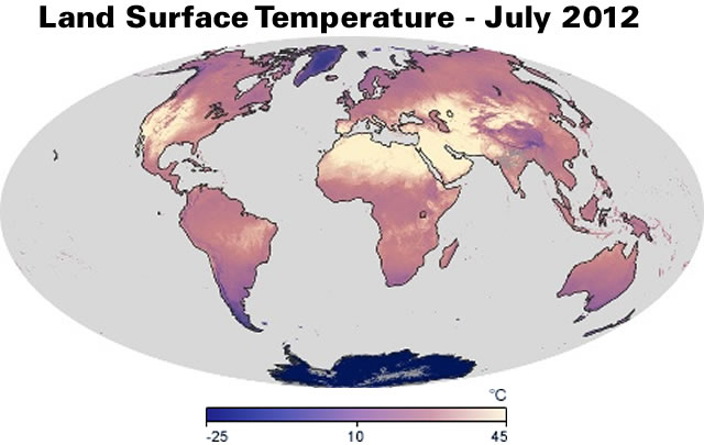Land Surface Temperature - July 2012