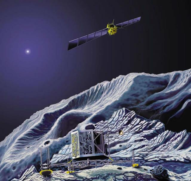 Simulation of the Landing of Rosetta Philae