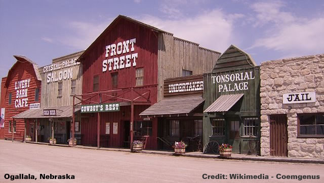 Stores on Front Street in Ogallala, Nebraska