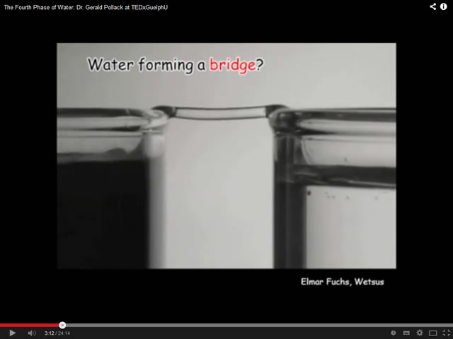 Water forming a bridge
