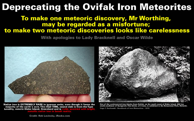Deprecating the Ovifak Iron Meteorites