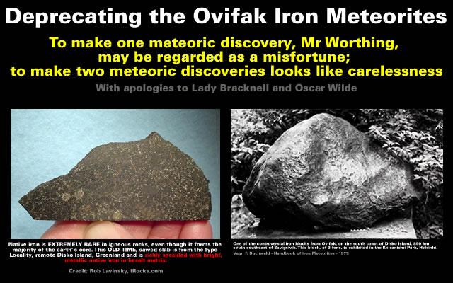 Deprecating the Ovifak Iron Meteorites
