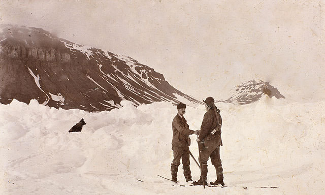 Fridtjof Nansen and Frederick Jackson at Cape Flora, Franz Josef Land, 17 June 1896