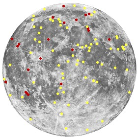 Map of Transient lunar phenomenon