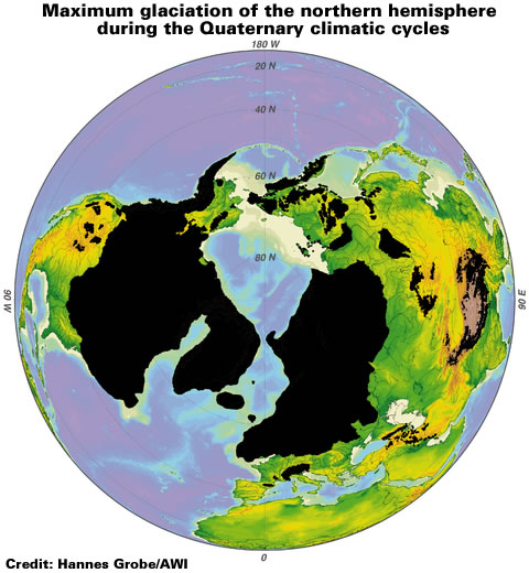 Maximum glaciation of the northern hemisphere