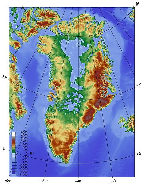 Topographic map of Greenland bedrock