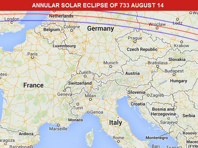 Annular Solar Eclipse of 733 August 14