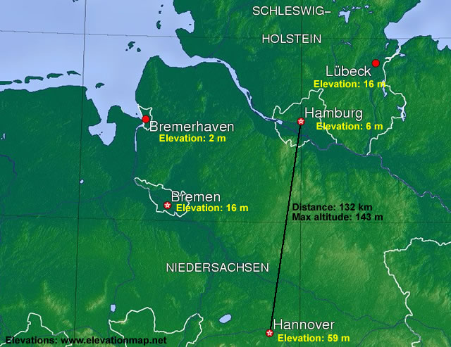Topographic map of North Germany