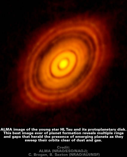 ALMA image of the young star HL Tau and its protoplanetary disk.