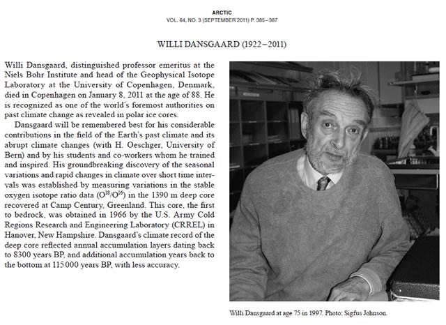 Willi Dansgaard - Obituary