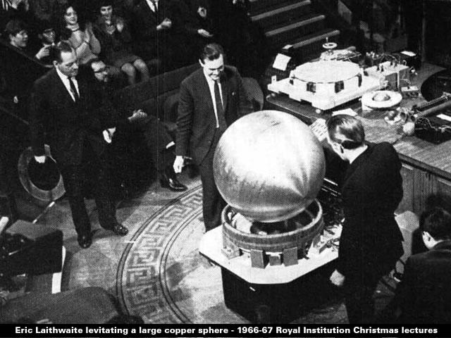 Eric Laithwaite levitating a large copper sphere