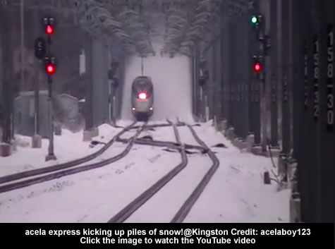 Acela express kicking up piles of snow