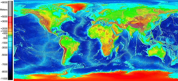 Global land and undersea elevation