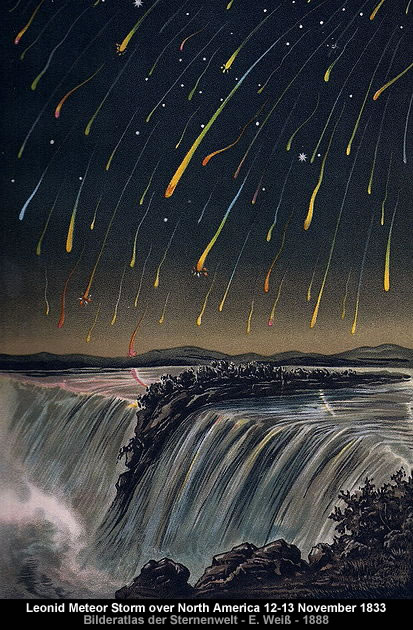 Leonid Meteor Storm over North America on the night of 12-13 November 1833