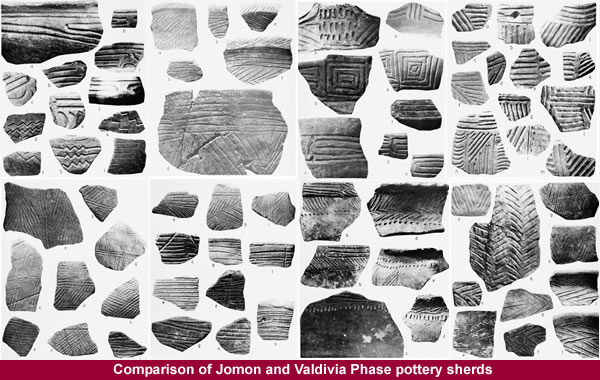 Comparison of Jomon and Valdivia Phase pottery sherds