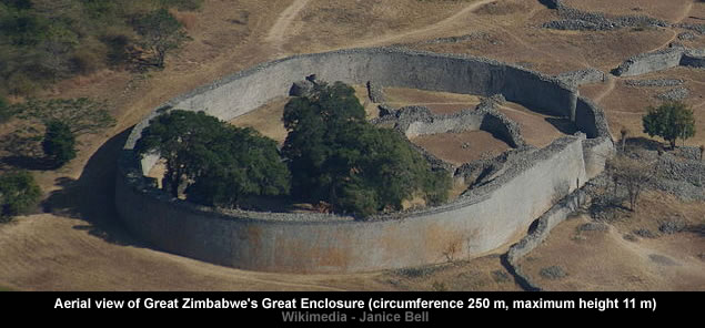 Aerial view of Great Zimbabwe