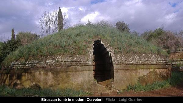Etruscan tomb in modern Cerveteri