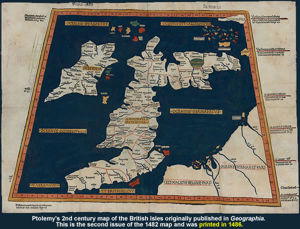 Ptolemy's 2nd century map of the British Isles