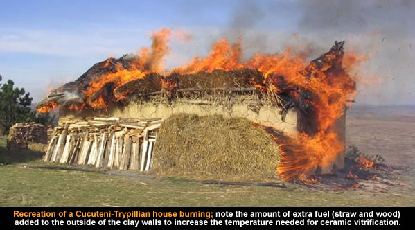 Recreation of a Cucuteni-Trypillian house burning