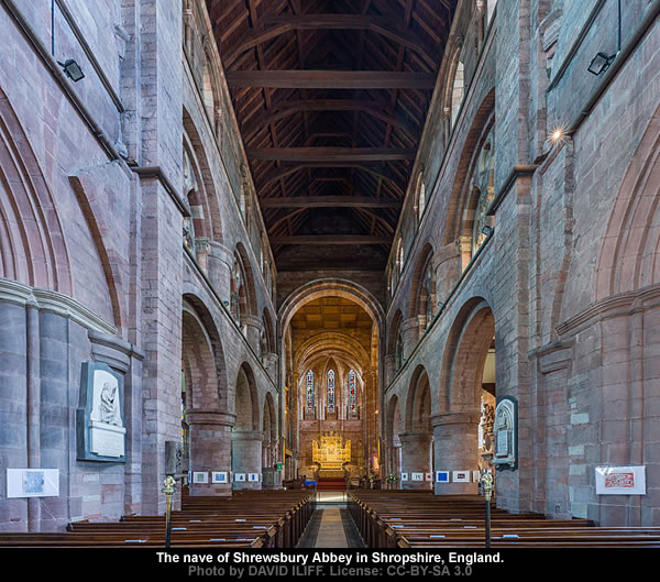 The nave of Shrewsbury Abbey