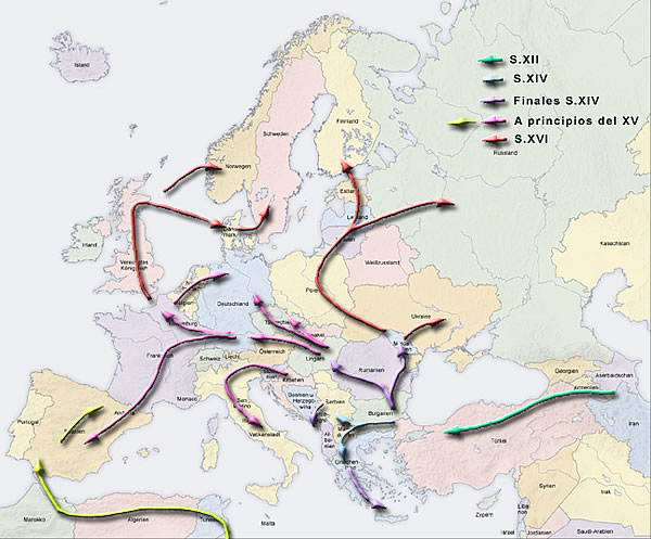Expansion of the Romani community through Europe