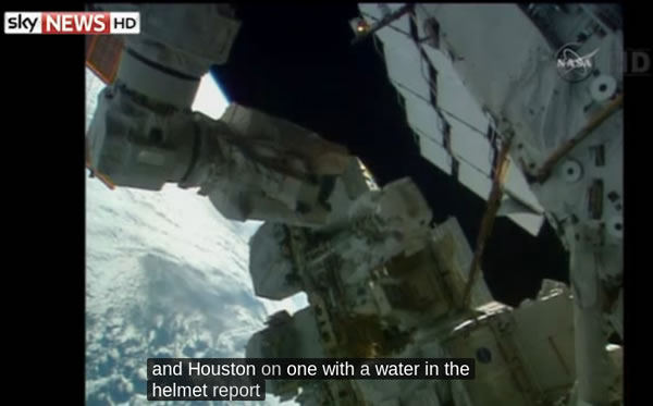 Astronaut's Helmet Fills With Water